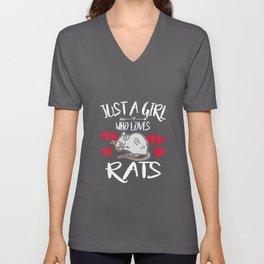 Just A Girl Who Loves Rats Unisex V-Neck