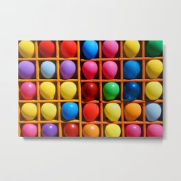 colorful balloons in wooden boxes, attraction Metal Print