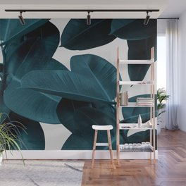 Indigo Blue Plant Leaves Wall Mural