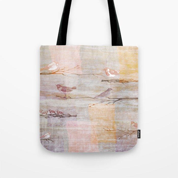 Golden Pink Birds Tote Bag