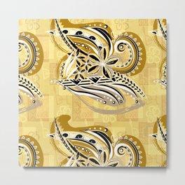 Polynesian - Hawaiin - Samoan Ochre Floral Tribal Metal Print