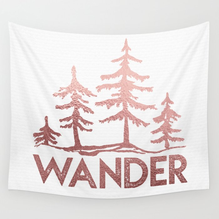 WANDER Adventure Forest Rose Gold Pink Wall Tapestry