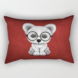 Cute Polar Bear Cub with Eye Glasses on Red Rectangular Pillow
