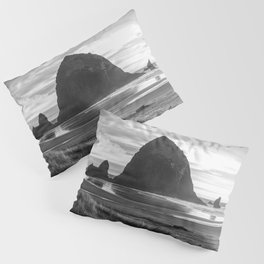 Cannon Beach Sunset - Black and White Nature Photography Pillow Sham