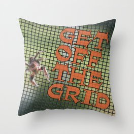 "Spider ""Get Off The Grid!"" Throw Pillow"