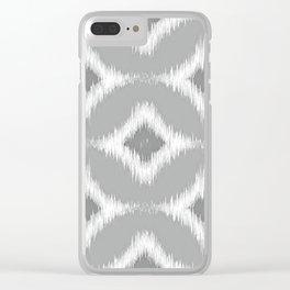 Elegant White Gray Retro Circles Squares Ikat Pattern Clear iPhone Case