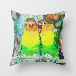 Neon Watercolor Parrot Print or Posters Throw Pillow