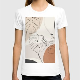Minimal Abstract Art- Monstera T-shirt