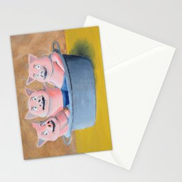 Three Pigs in a Tub Stationery Cards