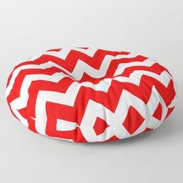 Chevron Red White Floor Pillow