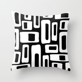 Retro Mid Century Modern Abstract Pattern 335 Black and White Throw Pillow