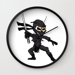 skull ninja cartoon. Wall Clock