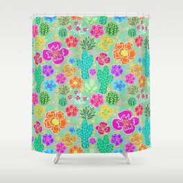Cactus Festival Party - Green Shower Curtain