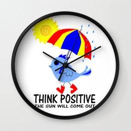Blue Bird Think Positive Image Wall Clock