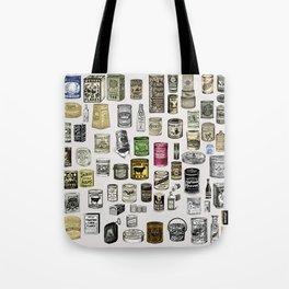 Vintage Victorian food cans Tote Bag