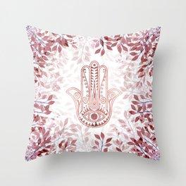 Modern burgundy faux rose gold Hamsa Hand of Fatima floral Throw Pillow