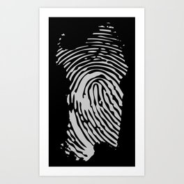 Sardinian fingerprint (black) Art Print