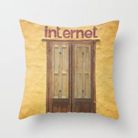internet Throw Pillows featuring Internet by Nina's clicks