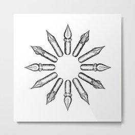 Dip Pen Nibs Circle (Black and White) Metal Print