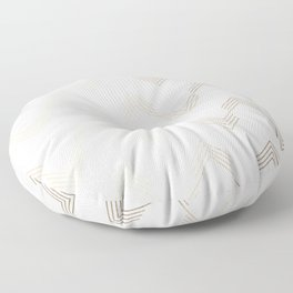 Simply Deconstructed Chevron White Gold Sands on White Floor Pillow