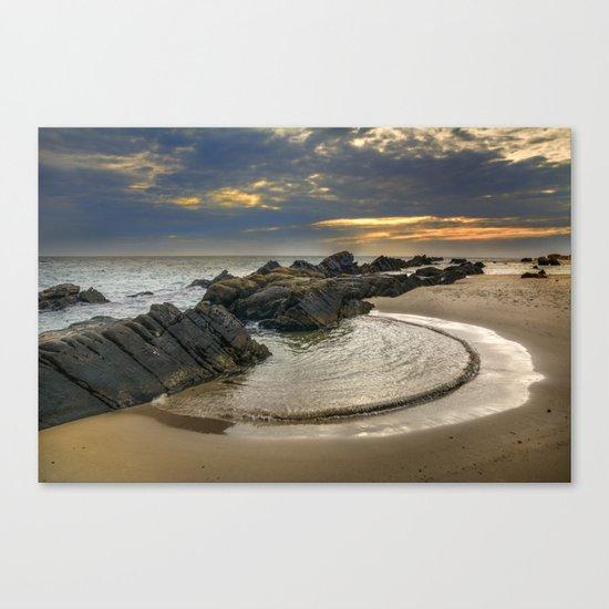 Windy Tarifa beach. Wild swiming pools. Canvas Print