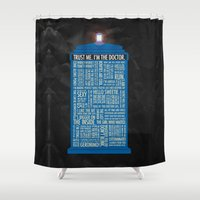 doctor Shower Curtains featuring Doctor Who  by Luke Eckstein