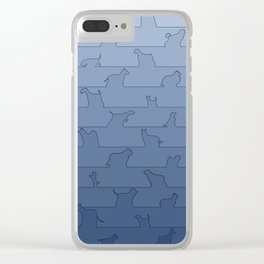 Blue Dog Ombre Clear iPhone Case