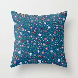 Blooms and Butterflies on Lapis Blue Throw Pillow