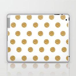 Gold Glitter Polka Dots Laptop & iPad Skin
