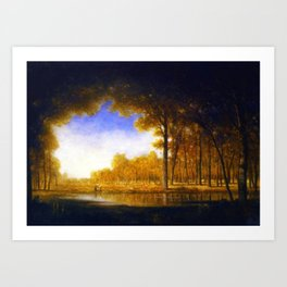 Autumn in the French Countryside, Fontainebleauu Forest landscape painting by Gilbert Munger Art Print