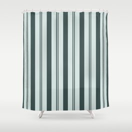 Night Watch Color of the Year Thick and Thin Vertical Stripes on Cave Pearl Light Mint Green Shower Curtain