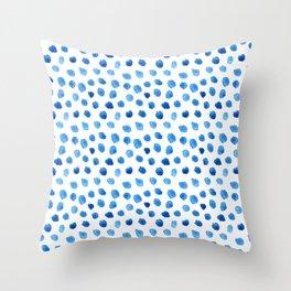Blue Dalmatian Print Throw Pillow