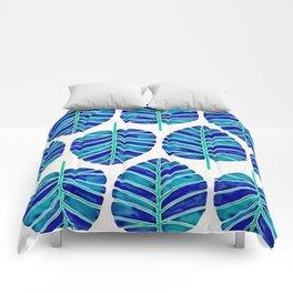 Elephant Ear Alocasia – Blue & Turquoise Palette Comforters