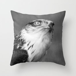Red-tailed Hawk I B&W Throw Pillow