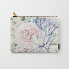 Pretty Pink Succulents Garden Carry-All Pouch