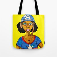 captain Tote Bags featuring Captain by N3RDS+INK