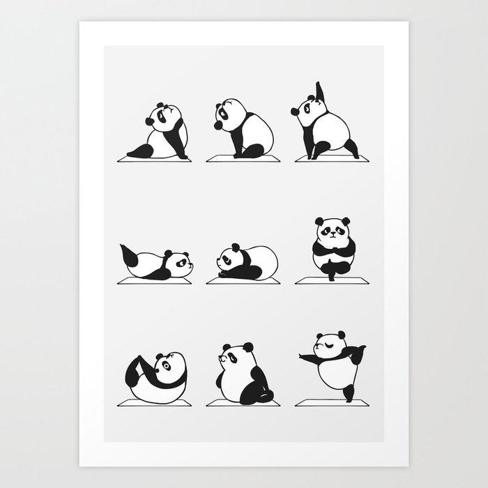 Panda Yoga Kunstdrucke