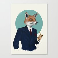 mr fox Canvas Prints featuring Mr. Fox by FAMOUS WHEN DEAD