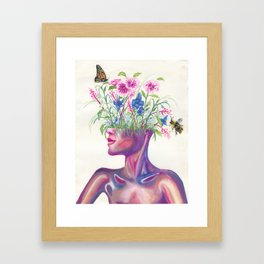 Head Full of Flowers Framed Art Print