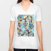 bikes V-neck T-shirts featuring Bikes pattern by Chris Piascik