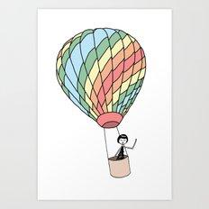 Eloise takes a ride in a hot air balloon Art Print
