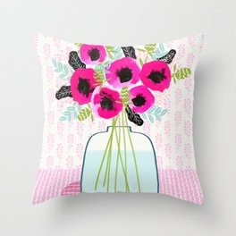 Poppies Vase of flowers cut flower mother's day cute florals illustration Andrea Lauren Throw Pillow