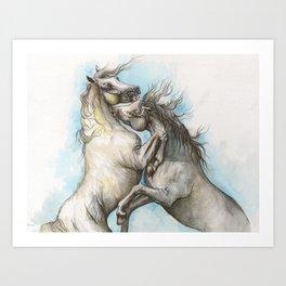 Fighting horses Art Print