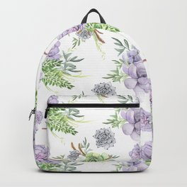 Desert Succulents Purple and Green Backpack