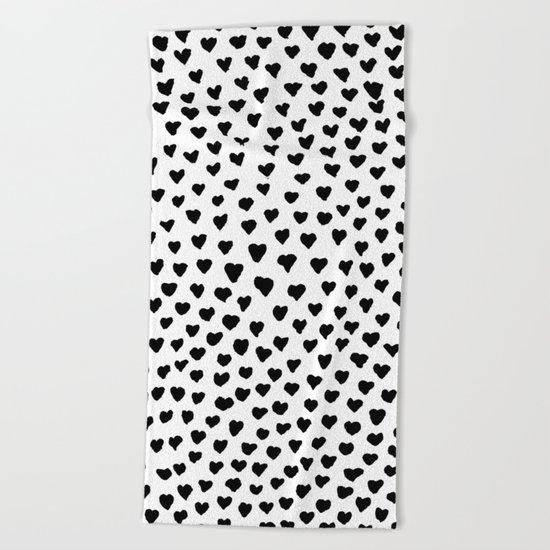 Black Heart Beach Towel