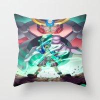 gurren lagann Throw Pillows featuring Gurren Lagann - This Drill will pierce the Heavens by Brian Hollins art