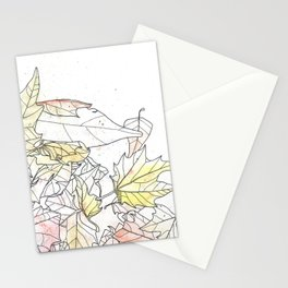 Autumn Leaves Watercolor Stationery Cards