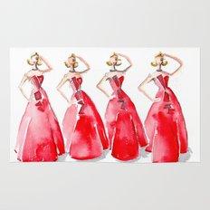 Rouge on the Runway Fashion Illustration Rug