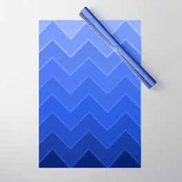 Gradient Blue Zig-Zags Wrapping Paper