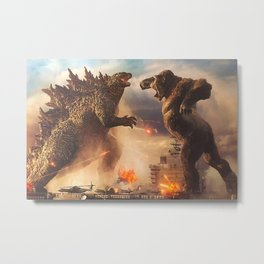Godzilla vs King Kong Moster Fight Movies Art Print Decor Home Poster Full Size Metal Print